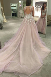 Anneprom Scoop V-Neck Long Wedding Dress/Prom Dress With Appliques APP0112