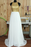 Anneprom Simple Round Neck Sweep Train Open Back White Prom Dresses With Sequins APP0115