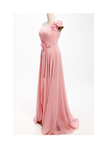 Anneprom A-Line One Shoulder Long Chiffon Bridesmaid Dress With Flowers APB0052