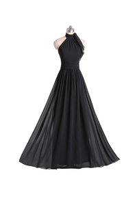 Anneprom A-Line Halter Floor Length Chiffon Black Bridesmaid Dress With Pleats APB0053