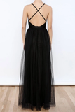 Anneprom Sexy Black V Neck Side Slit Tulle Evening Gowns Prom Dresses APP0117