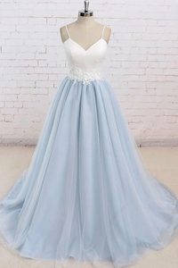 Anneprom Spaghetti Straps Sweep Train Backless Light Blue Tulle Prom Dress APP0006