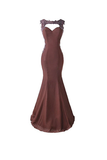 Anneprom Mermaid Prom Dress Lace Appliques Sheer Back Bridesmaid Dress APB0059