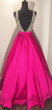 Anneprom V-Neck Floor-Length Ball Gown Hot Pink Satin Prom Dress With Beading APP0126