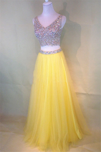 Anneprom Two-Piece Beaded Sleeveless V-Neck Tulle Yellow Prom Dresses APP0127