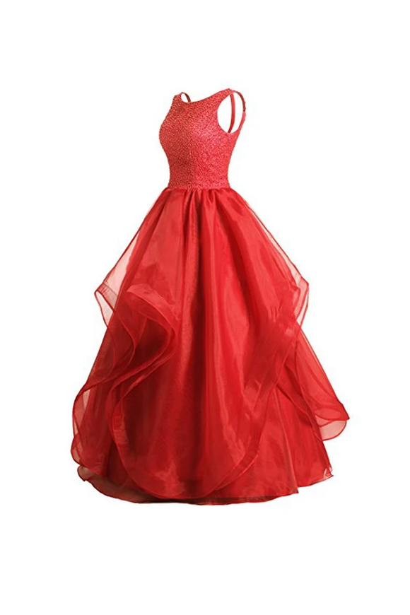 Anneprom A-Line Red Organza Asymmetric Bridesmaid Dress With Beading APB0062