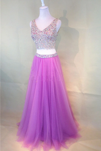 Anneprom Fuchsia Pink Two-Piece Fashion Beaded V-Neck Tulle Prom Dress APP0128
