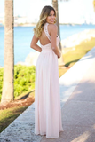 Anneprom Floor-Length Open Back Pink Chiffon Bridesmaid Dress With Lace APB0067