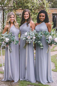 Anneprom One-Shoulder Floor-Length Open Back Lavender Chiffon Bridesmaid Dress APB0073