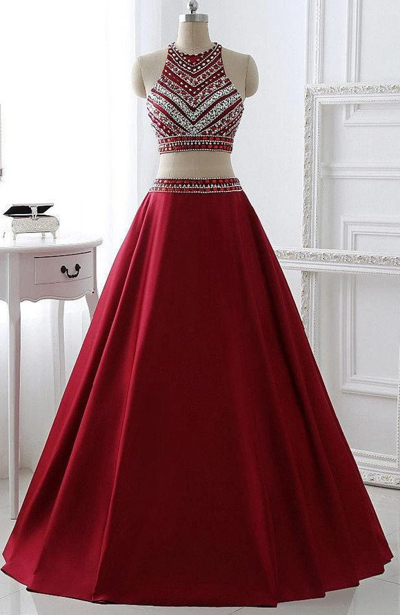 Anneprom Two Pieces Burgundy Prom Dress Bridal Party Dresses APP0025