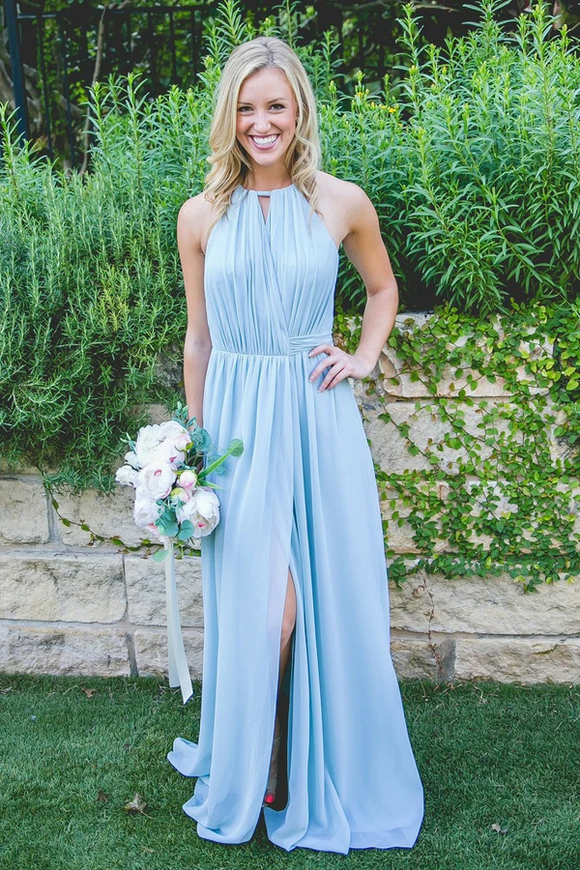 Anneprom Floor-Length High Split Blue Chiffon Sleeveless Bridesmaid Dress APB0074