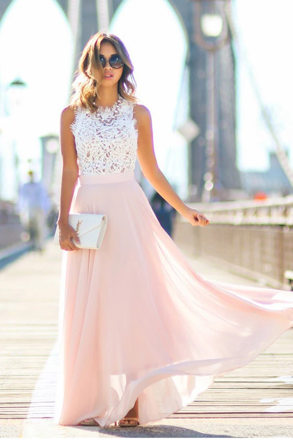 Anneprom Gorgeous Crew Long Pink Chiffon Prom Dress With White Lace Top APP0139