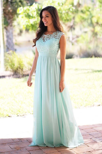 Anneprom A-Line Crew Floor-Length Mint Chiffon Bridesmaid Dress With Lace APB0075