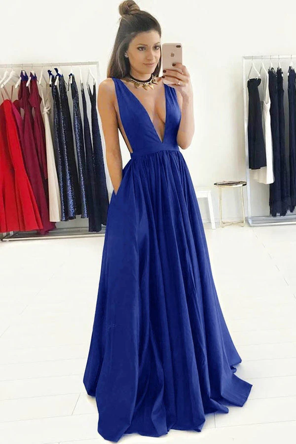 Anneprom A-Line Deep V-Neck Sweep Train Royal Blue Prom Dress With Ruched APP0140