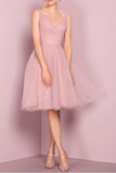 Anneprom Cute V Neck Knee Length Pink Homecoming Dress Short Prom Dresses APP0141