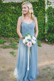 Anneprom A-Line Floor-Length Turquoise Sleeveless Tulle Bridesmaid Dress APB0077