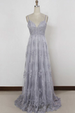 Anneprom Spaghetti Straps Sweep Train Backless Lavender Tulle Prom Dress APP0142