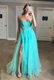 Anneprom Spaghetti Straps High Slit Evening Dress Appliqued Sweep Train Long Prom Dress APP0007
