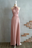 Anneprom A-Line Floor-Length Criss-Cross Straps Blush Spandex Bridesmaid Dress APB0079