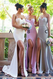 Anneprom Mermaid Spaghetti Straps Sweep Train Split Bridesmaid Dress APB0083