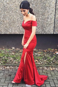 Anneprom Gorgeous Red Long Prom Dress Off-Shoulder With Side Slit APP0150