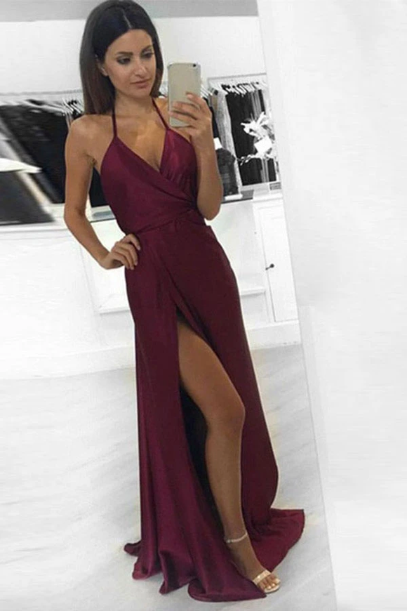 Anneprom Sexy A-Line Halter Burgundy Long Prom Dress Formal Evening Dress APP0152