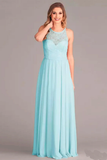 Anneprom A-Line V-Neck Floor-Length Mint Chiffon Bridesmaid Dress With Lace APB0088