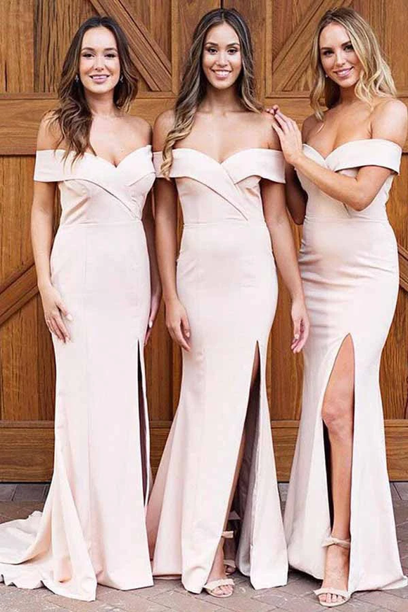 Anneprom Sheath Off-The-Shoulder Pearl Pink Satin Bridesmaid Dress With Split APB0092