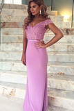 Anneprom Mermaid Off-The-Shoulder Train Satin Prom Dress With Appliques Lace APP0157