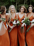 Anneprom Straps A-Line V-Neck Orange Chiffon Bridesmaid Dress With Split APB0096