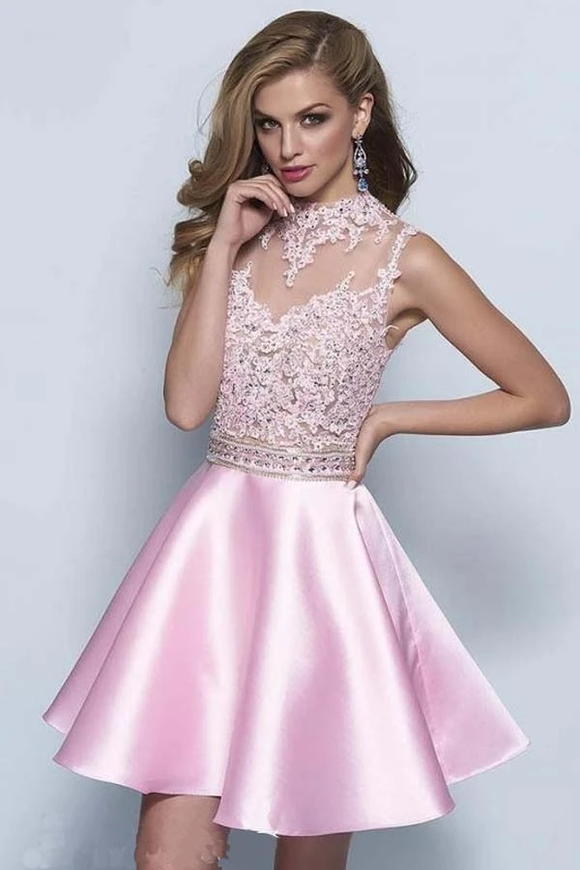Anneprom Neckline Keyhole A-Line Pink Satin Homecoming Dresses APP0160