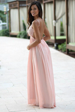 Anneprom A-Line Spaghetti Straps Backless Pink Chiffon Prom Dress With Lace APP0162