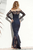 Anneprom Mermaid Off-The-Shoulder Navy Blue Bridesmaid Dress With Lace APB0099