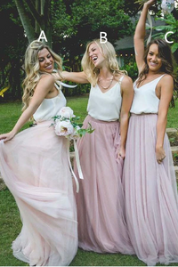 Anneprom Gorgeous Two Piece Pink Tulle Long Bridesmaid Dress With White Top APB0100