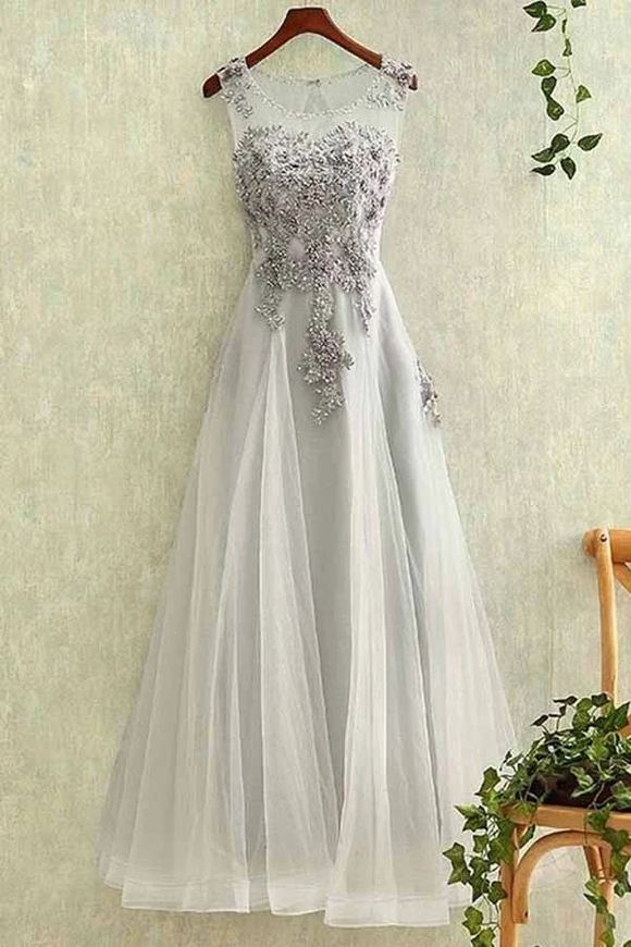 Anneprom Elegant Tulle Lace Applique Long Prom Dresses Evening Dreses APP0164