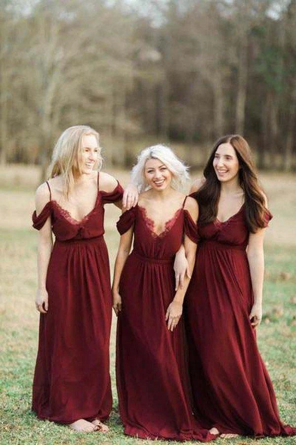 Anneprom Burgundy Long Chiffon Bridesmaid Dress Wedding Party Dress APB0101