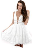 Anneprom Deep Neck Short Prom Dress White Lace Homecoming Dress APP0166