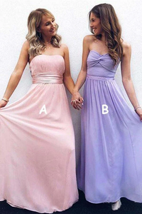 Anneprom Modest Strapless Ruched Bridesmaid Dress Chiffon Formal Dresses APB0104
