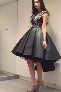 Anneprom Chic Modern Sparking Beading High Low Black Organza Homecoming Dress APP0167