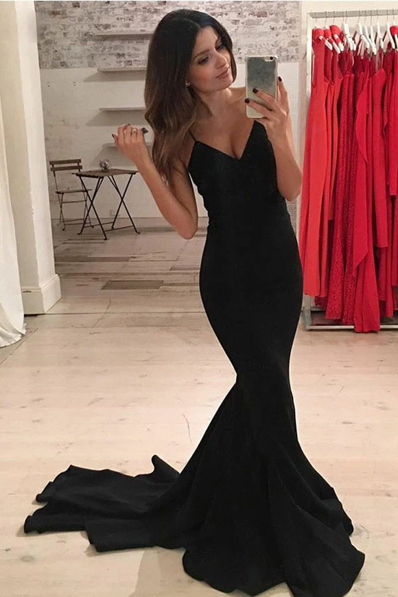 Anneprom Mermaid Spaghetti Straps Sweep Train Black Satin Prom Dress APP0169