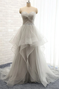 Anneprom Sweetheart Long Tulle Grey Wedding Dresses With Beading APW0009