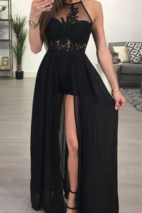 Anneprom A-Line Halter Black Chiffon Sexy Long Prom Dresses Evening Dress APP0175
