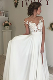 Anneprom V-Neck Cap Sleeves Sweep Train Ivory Wedding Dress With Appliques APW0011