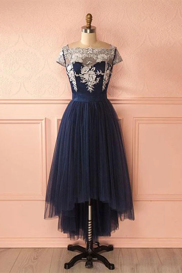 Anneprom Cute Dark Blue Tulle Lace High Low Prom Dress Evening Dresses APP0176