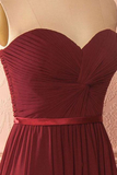 Anneprom Sweetheart Neck Chiffon Burgundy Long Prom Dress Bridesmaid Dress APP0177