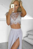 Anneprom Two Piece Round Neck Light Gray Chiffon Prom Dress With Lace Split APP0178