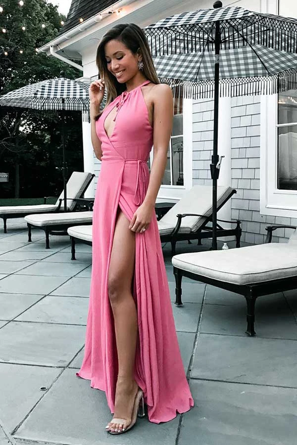 Anneprom A-Line Round Neck Floor-Length Keyhole Pink Prom Dress With Split APP0179