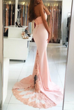 Anneprom Mermaid High Nack Sweep Train Pink Satin Prom Dress With Beading Lace APP0181