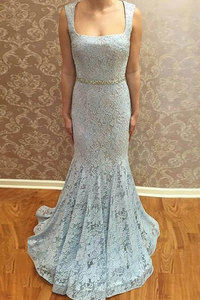 Anneprom Mermaid Square Neck Sweep Train Blue Lace Prom Dress With Beading APP0182