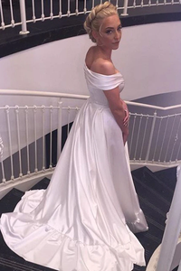 Anneprom Sweetheart Off The Shoulder White Long Wedding Dress With Train APW0017